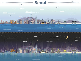 vector illustration of Seoul at day and night
