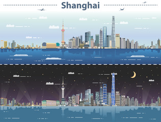 Fototapete - Shanghai day and night vector illustration