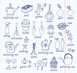 Gardening vector set, equipment and tools, vegetables and plants