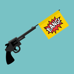 Toy gun with a bang flag / flat editable vector illustration, clip art