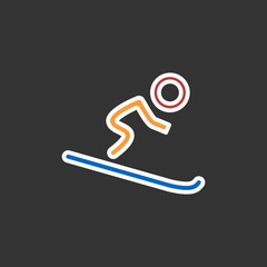 Silhouette of single mountain skier isolated on a black background. Vector flat illustration