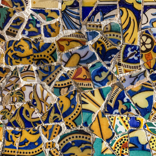 Broken Gl Mosaic Tile Decoration In Park Guell Barcelona Spain Designed By