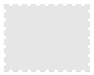 Blank Gray Postage Stamp, 3d illustration on white background