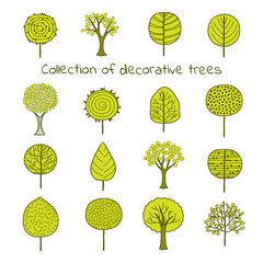Сollection of  stylized  green trees