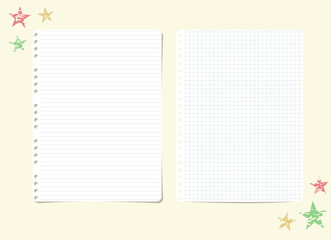 White ruled, striped, squared notebook, copybook paper sheets and stars on yellow background.