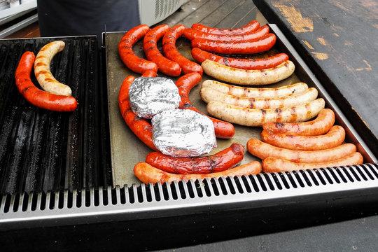 Grilled sausages, street food