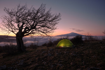 Dawning On lighting tent and Mount Etna, Sicily