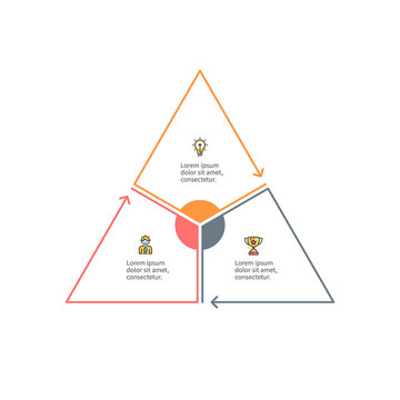 Outline triangle with 3 parts, sections for infographics.