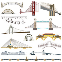 collection of vector isolated bridges