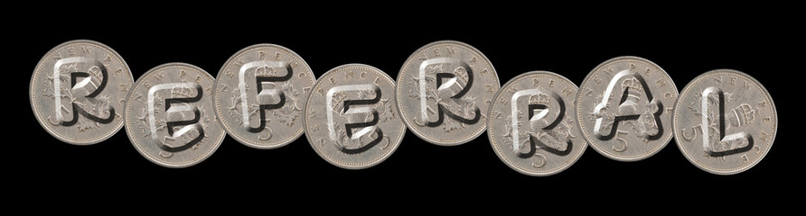 REFERRAL – Coins on black background