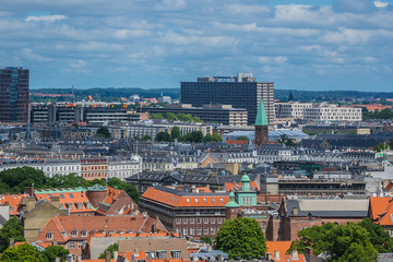 Panoramic view of Copenhagen city in sunny day from the City hall tower. Copenhagen, Denmark.