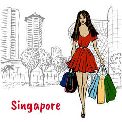 couple on Orchard Road in Singapore