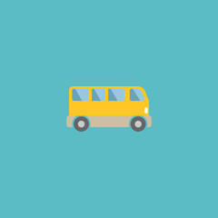 Flat Icon Bus Element. Vector Illustration Of Flat Icon Omnibus Isolated On Clean Background. Can Be Used As Bus, Omnibus And Passenger Symbols.