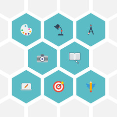Flat Icons Artist, Science, Wings And Other Vector Elements. Set Of Original Flat Icons Symbols Also Includes Knowledge, Book, Camera Objects.
