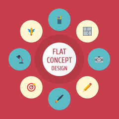 Flat Icons Illuminator, Pen, Wings And Other Vector Elements. Set Of Original Flat Icons Symbols Also Includes Case, Photo, Plan Objects.