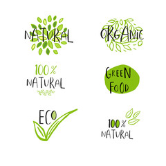 Vector eco, bio green logo or sign. Vegan, raw, healthy food badge
