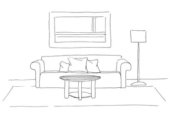 Sofa, round table in front of her. Floor lamp on the side. Hand drawn vector illustration of a sketch style.