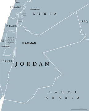 Jordan political map with capital Amman. The Hashemite Kingdom of Jordan, an Arab country in Middle East and Western Asia. Gray illustration isolated on white background. English labeling. Vector.
