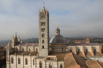 Duomo di Siena and bell tower. View from facciatone Tuscany. Italy.
