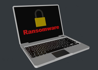 Ransomware 3D with padlocks - laptop