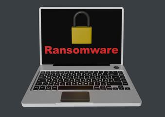 Ransomware 3D with padlocks - laptop