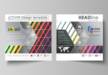 Bright color rectangles, colorful design with geometric rectangular shapes forming abstract beautiful background. Business templates for square brochure, magazine, flyer. Leaflet cover, vector layout.