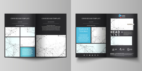 Chemistry pattern, connecting lines and dots, molecule structure on white, geometric background. Business templates for bi fold brochure, flyer, report. Cover design template, vector layout in A4 size