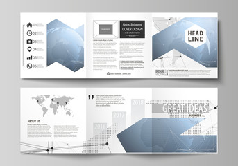 World globe on blue. Global network connections, lines and dots. The minimalistic vector illustration of the editable layout. Two modern creative covers design templates for square brochure or flyer.