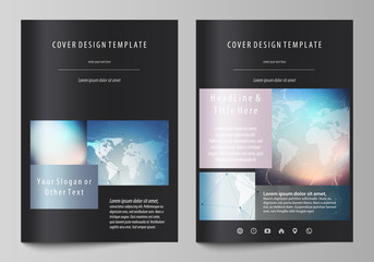 Polygonal geometric linear texture. Global network, dig data concept. Black colored vector illustration of editable layout of A4 format covers design templates for brochure, magazine, flyer, booklet.