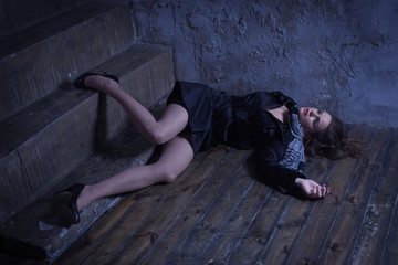 Crime scene with strangled retro styled fashion woman in a darkplace Wall mural