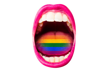 Flag of LGBT in woman's mouth, on tongue, sexy concept of rainbow flag. Female lips with lipstick, white teeth, rainbow in tongue of girl. Woman screams at rally pride about rights of minorities Wall mural