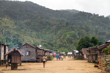 Local people walking around in the village of Benjana, Madagascar, on September 22, 2013