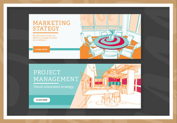 Two Project Management and Marketing Strategy Web Banner Layouts