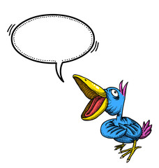 Cartoon image of singing bird. An artistic freehand picture.