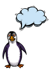 Cartoon image of penguin. An artistic freehand picture.