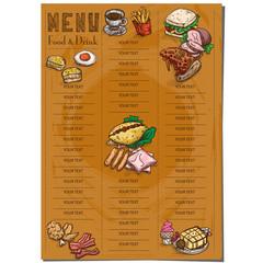 menu food restaurant template design hand drawing graphic.