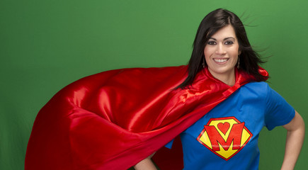 Proud Mom as Super Mother on Green Screen Superhero Red Cape
