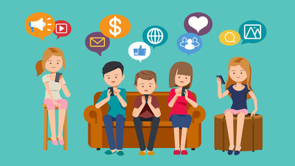 Social media Technology. Current communication system with internet by smart-phone. Modern lifestyle. Grouping with friends.