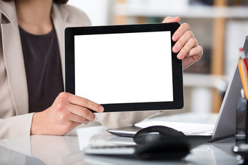 Businesswoman Showing Digital Tablet With Blank Screen