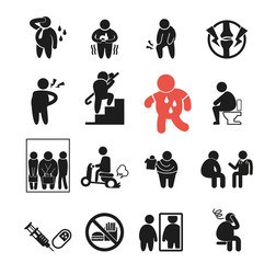 Problem of obesity icon concept. Barriers to disease. Failure try to be slim. Medical treatment.