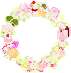 The frame that is made with various miscellaneous goods of cherry blossom