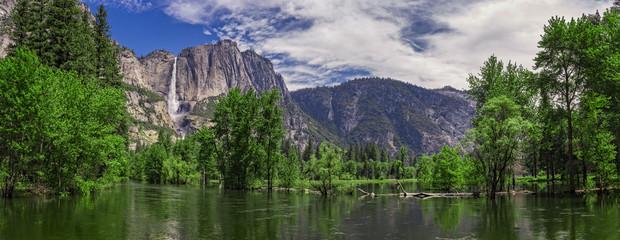 Merced River and Yosemite Falls, Yosemite National Park, California, USA Wall mural