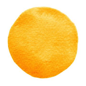 Orange watercolor circle. Watercolour stain on white background.