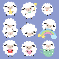 Vector illustration of cute white sheep with heart, star, and rainbow.