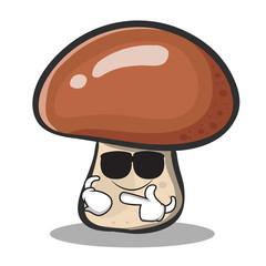 Super cool mushroom character cartoon