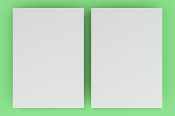 Blank white flyer mockup on green background