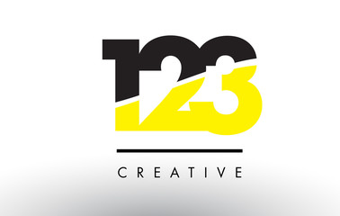 123 Black and Yellow Number Logo Design. Wall mural