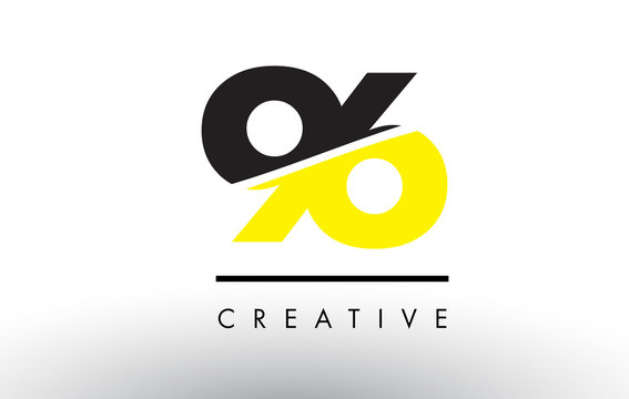 96 Black and Yellow Number Logo Design.