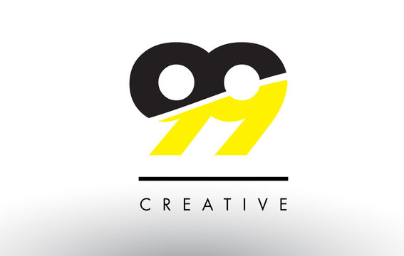 99 Black and Yellow Number Logo Design.