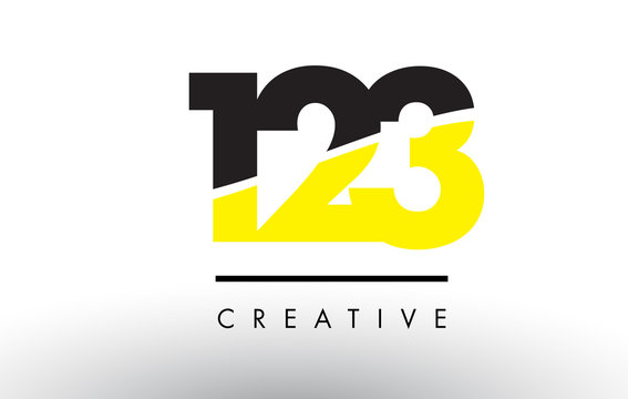 123 Black and Yellow Number Logo Design.
